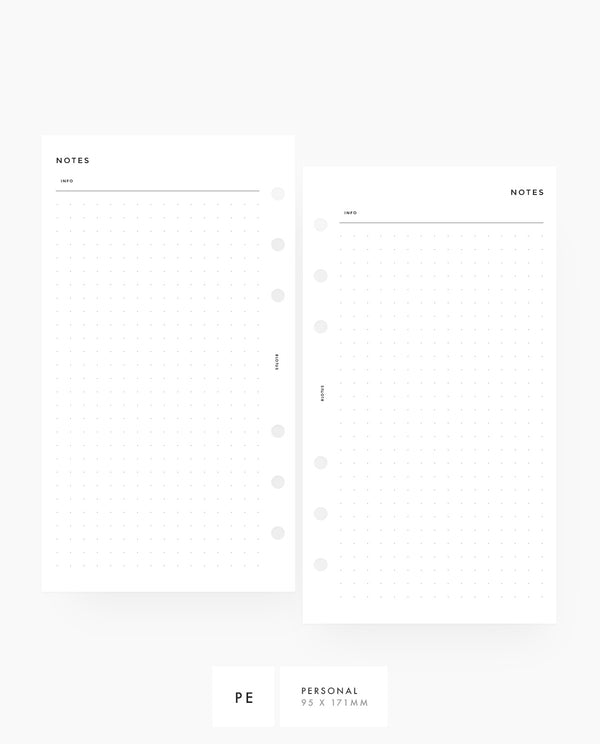 Dot Grid Printable Planner Inserts Personal Rings