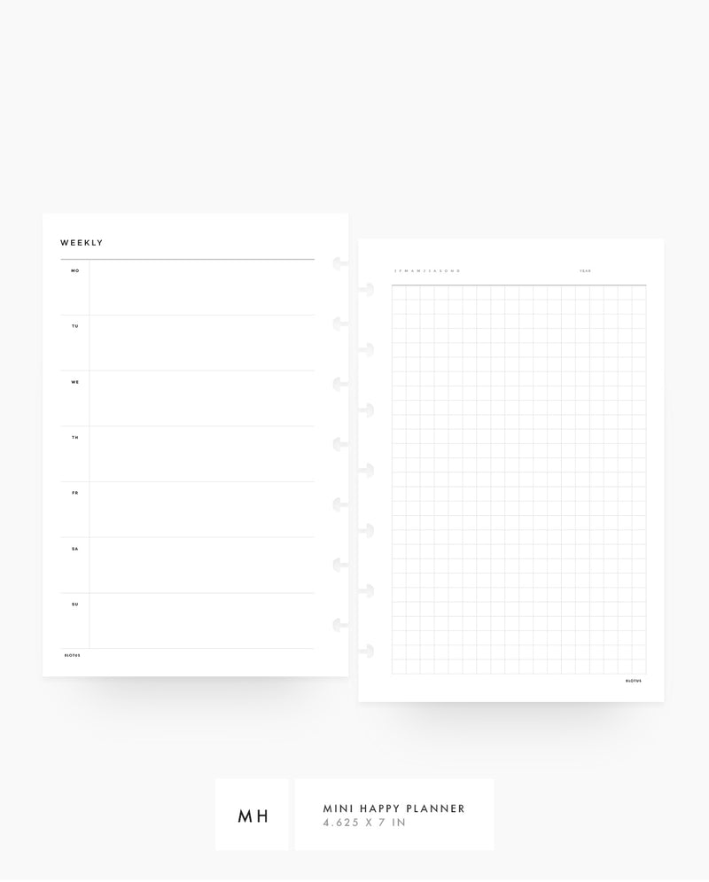 MN041 - Weekly Horizontal & Grid - PRINTABLE Inserts