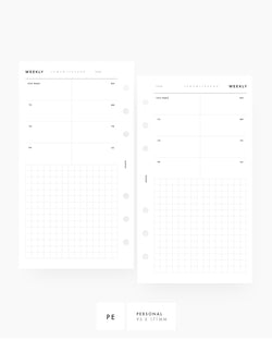 Weekly Overview with Grids Personal Printable Planner Inserts