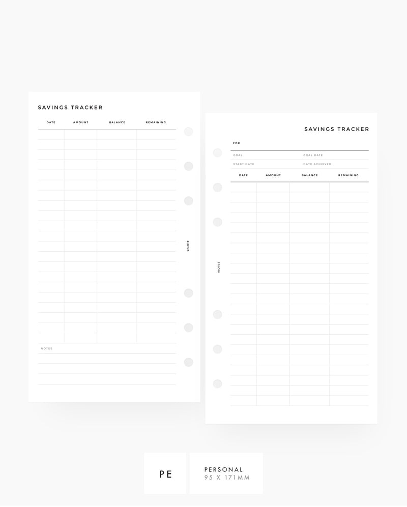Savings Tracker Planner Printable Inserts Personal Size