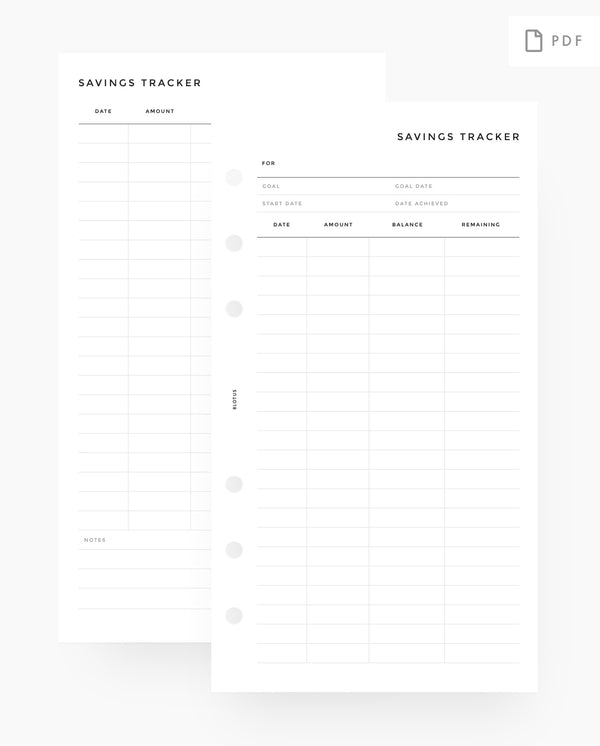 Savings Tracker Planner Printable Inserts