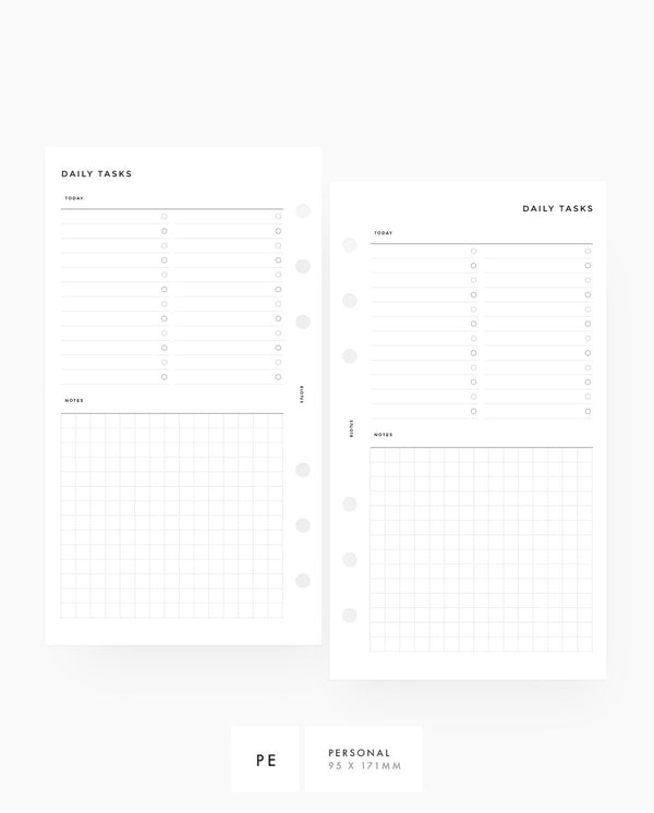 Personal Size Daily To Do's with Grid Notes Printable Planner Inserts
