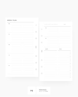 MN054 - Weekly Horizontal List & Notes PRINTABLE Inserts