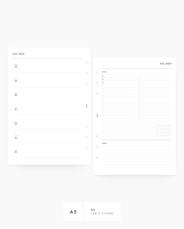 MN075 - 2021 - 2022 Weekly Planner - Horizontal List, Tracker & Notes