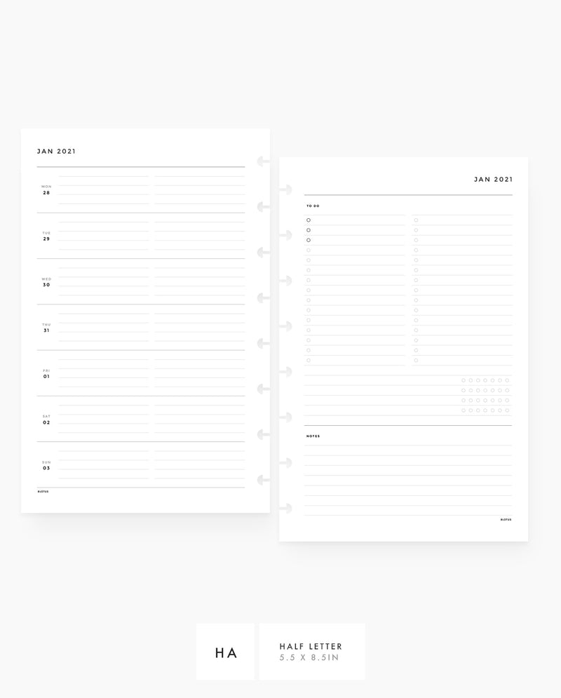 MN075 - 2021 Weekly Planner - Horizontal List, Tracker & Notes - PDF