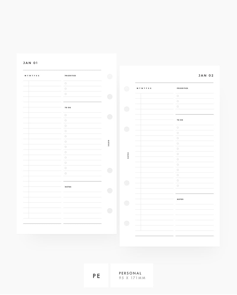 MN076A - Daily Planner - Month & Day - PDF