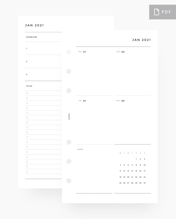 MN088 - 2021 Weekly Planner - Vertical Sectional - PDF