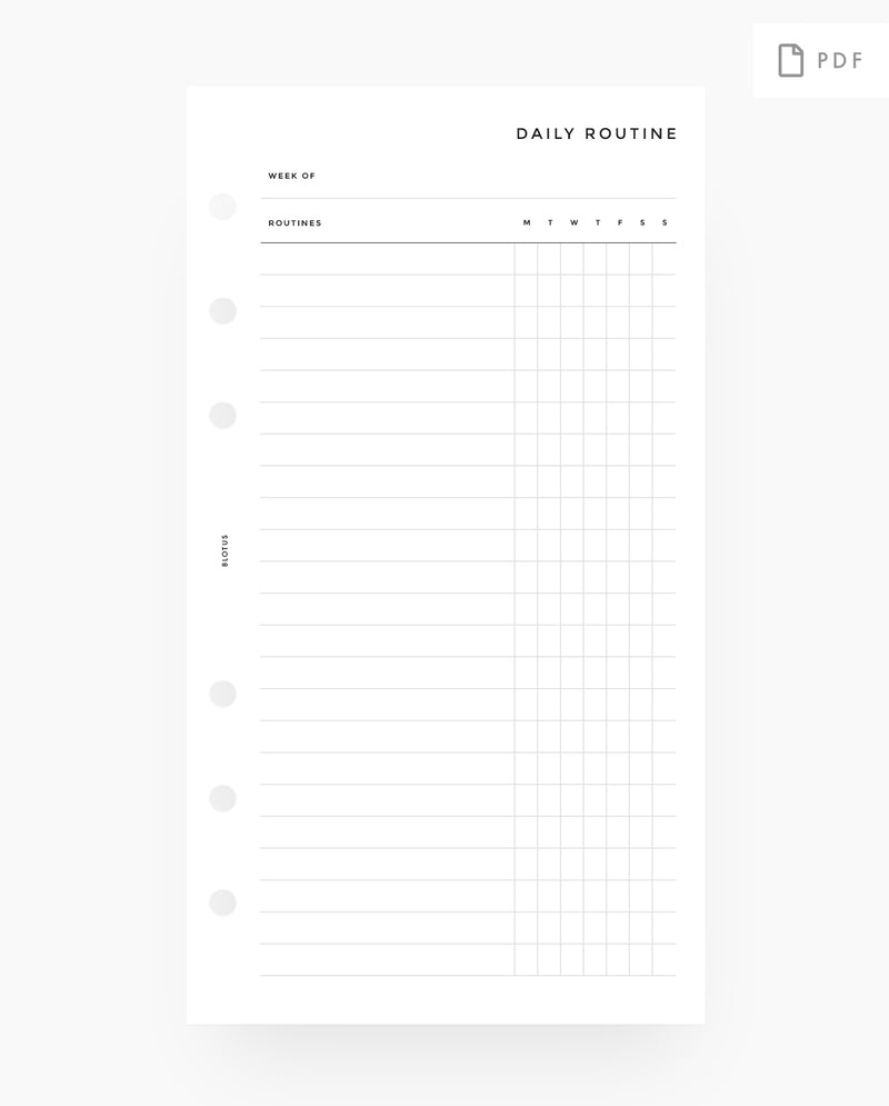 MN045 - Fillable Daily Routines / Habit Tracker - PDF