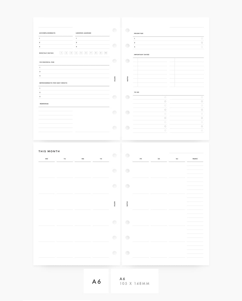 MN016 - Monthly Planner Printable Insert