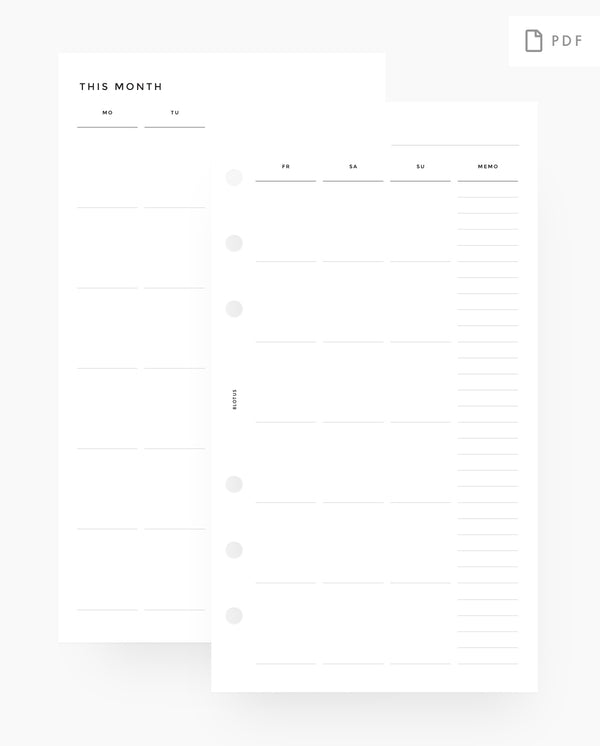 MN016 - Monthly Planner Printable Insert Undated