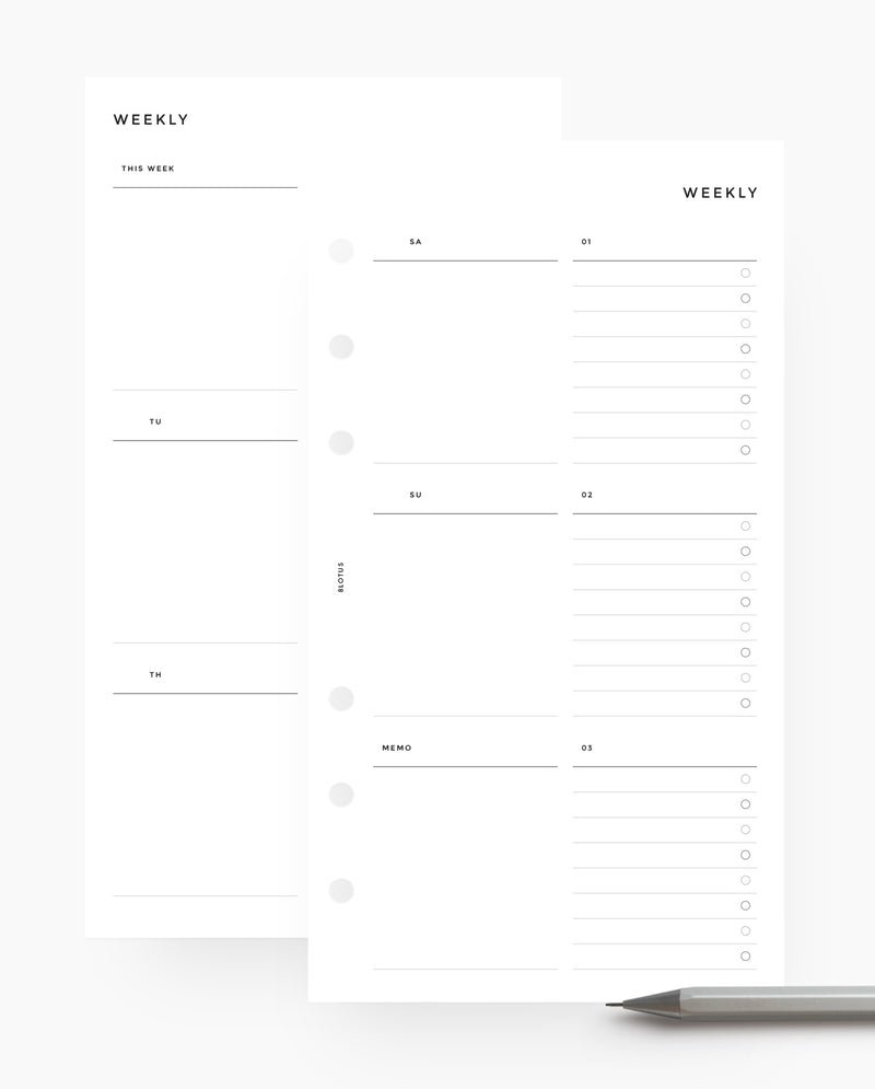 Undated Minimal Weekly Planner with Custom Lists