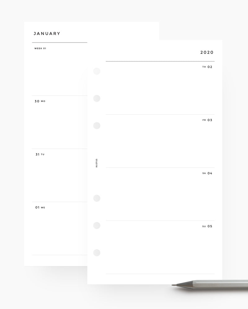 MN019 - 2020 Weekly Horizontal Planner Wo2P