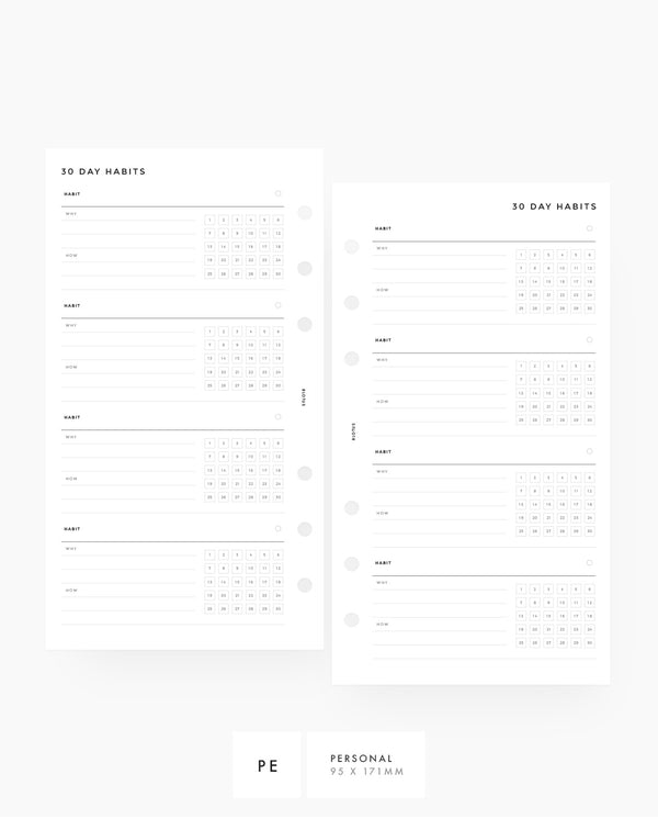MN057 - 30 Day Habit Tracker PRINTABLE Inserts