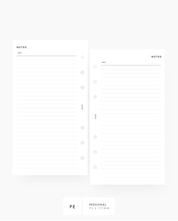 Lined Notes printable planner inserts personal rings