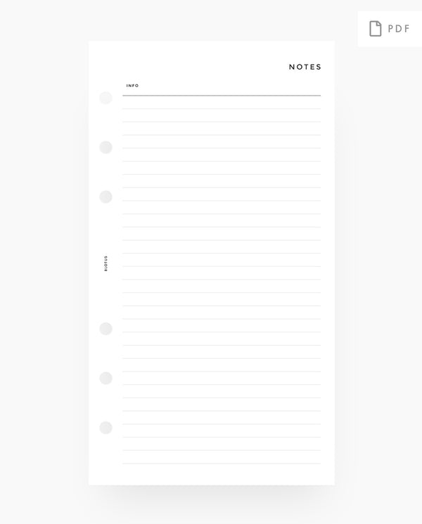Lined Notes printable planner inserts