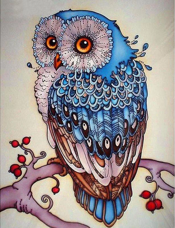 BERRY BRANCH OWL - DIAMOND PAINTING KIT