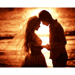 LOVERS IN SUNSET - DIY PAINT BY NUMBERS KIT