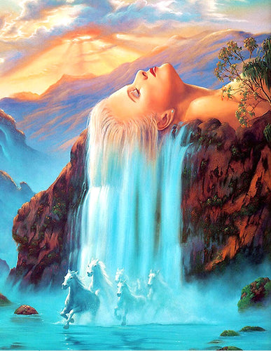 LADY WATERFALLS - DIAMOND PAINTING KIT