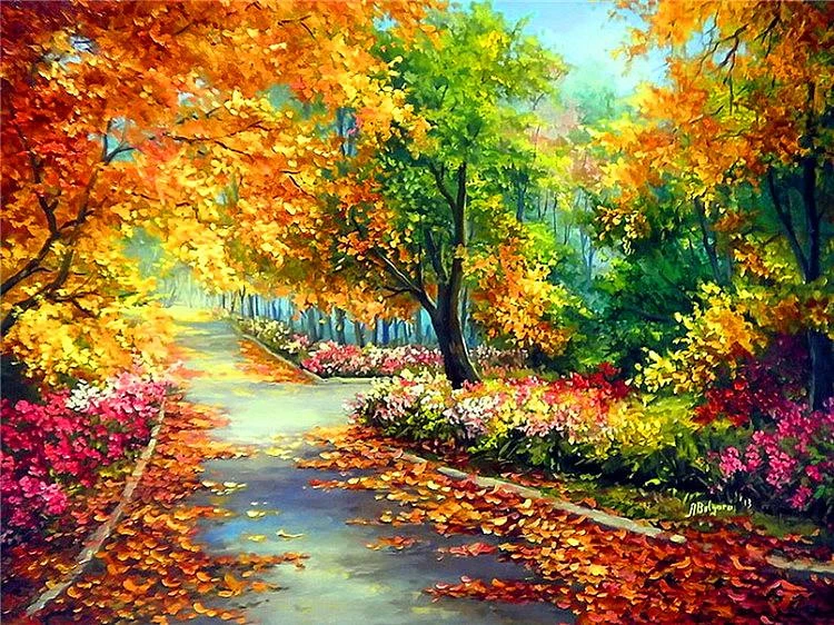 LEAFY AUTUMN STREET - DIAMOND PAINTING KIT