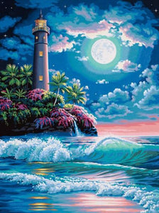 LIGHTHOUSE IN THE MOONLIGHT - DIAMOND PAINTING KIT