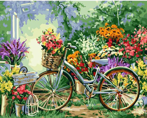 THE FLOWER BICYCLE - DIY PAINT BY NUMBERS KIT