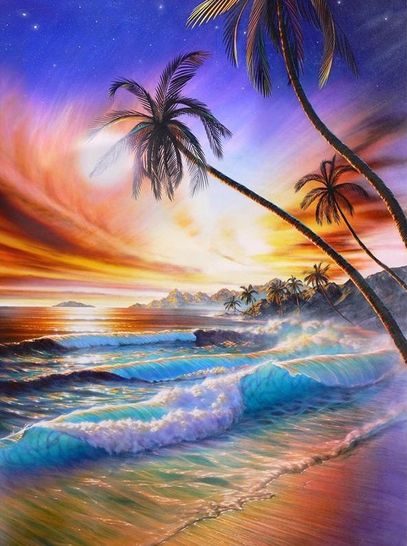 TROPICAL BEACH SUNSET - DIAMOND PAINTING KIT