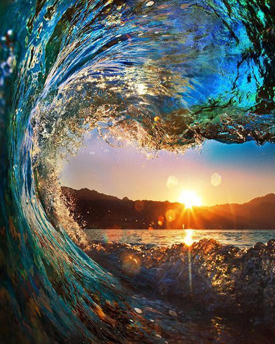 UNDER THE WAVE SUNSET - DIY PAINT BY NUMBERS KIT