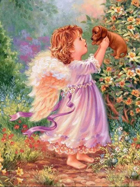 ANGEL WITH PUPPY - DIY PAINT BY NUMBERS KIT