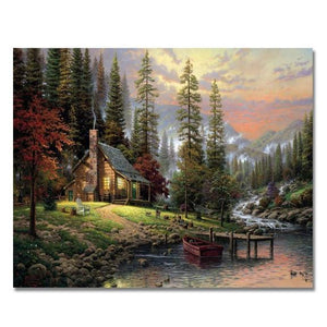 CABIN BY THE LAKE - DIY PAINT BY NUMBERS KIT