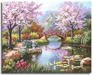 CHERRY BLOSSOMS GARDEN - DIY PAINT BY NUMBERS KIT