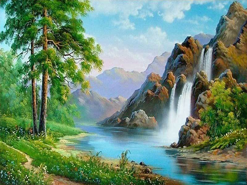 BLISSFUL WATERFALLS - DIAMOND PAINTING KIT