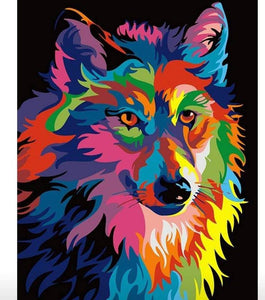 COLORFUL WOLF - DIY PAINT BY NUMBERS KIT