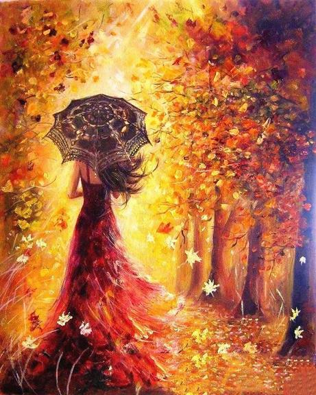 LADY IN AUTUMN - DIY PAINT BY NUMBERS KIT
