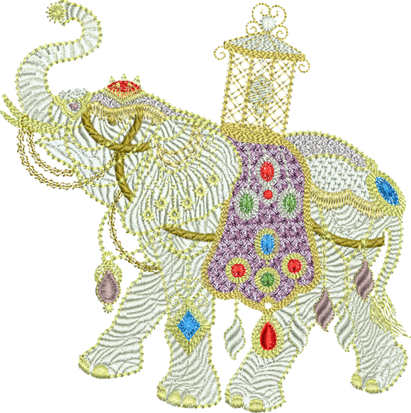 Elephant Large Embroidery Motif - 01LG - Metallic Thread designs by Sue Box