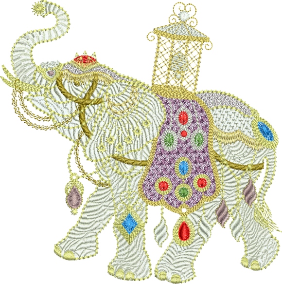 Elephant Small - Embroidery Motif - 01SM - Metallic Thread designs by Sue Box
