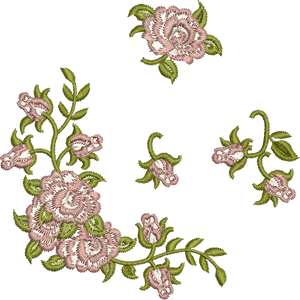 Miniature Rose Set Embroidery Motif - 01 - Golden Classic by Sue Box