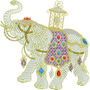 Elephant Extra Large Embroidery Motif - 01 XLG - Metallic Thread designs by Sue Box