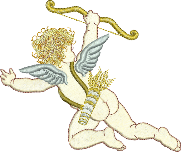 Cupid Embroidery Motif - 02 - Endearing Embroidery design by Sue Box