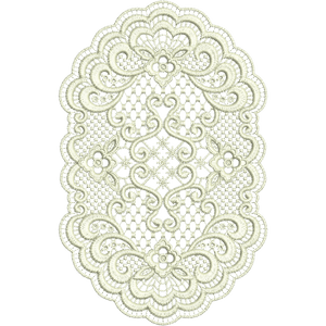 Lace - Oval Doily Embroidery Motif by Sue Box