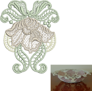 Lace - Antique Flower Design Small Embroidery Motif - 03 - Designer Lace - by Sue Box