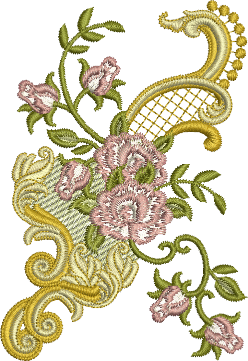 Rose Design Embroidery Motif - 03 - Golden Classic by Sue Box