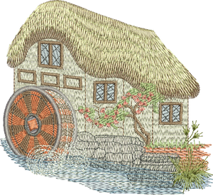 Water Mill and Thatched Cottage Embroidery Motif - 03 -  Traditional Homes and Gardens - by Sue Box