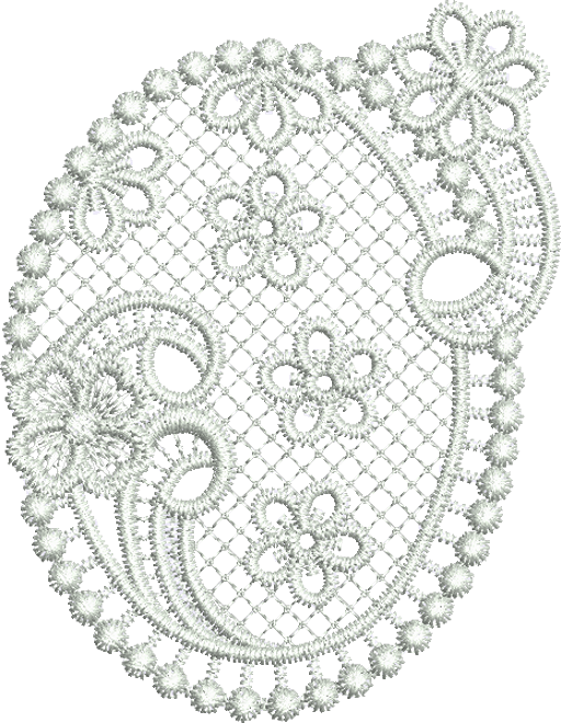 Lace Flower Oval Embroidery Motif - 04 - Classic Lace - by Sue Box
