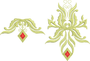 Jewel Motifs B and E - Embroidery Designs - 04 - Metallic Thread designs by Sue Box