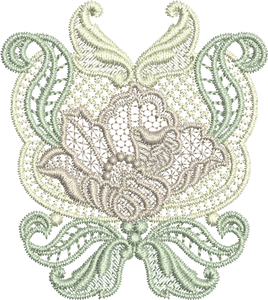 Lace Flower Design Small Embroidery Motif - 04 - Designer Lace - by Sue Box