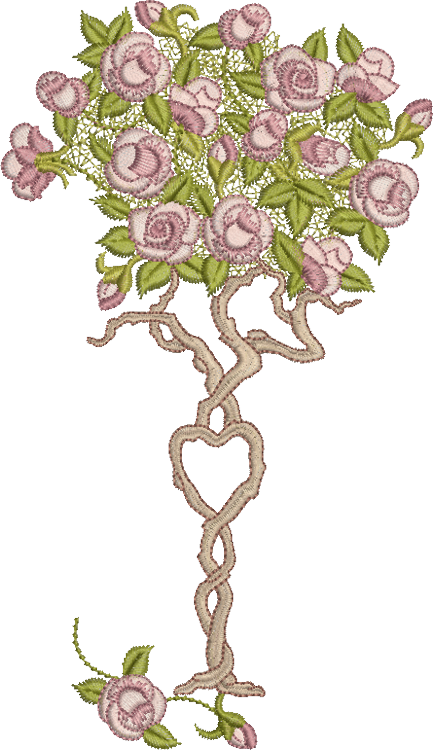 Rose Tree Embroidery Motif - 04 - Endearing Embroidery design by Sue Box