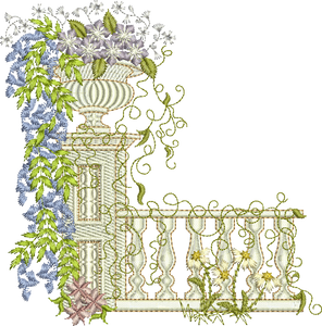 Floral Garden Scene C Embroidery Motif - 05 -  Creative Floral Gardens by Sue Box
