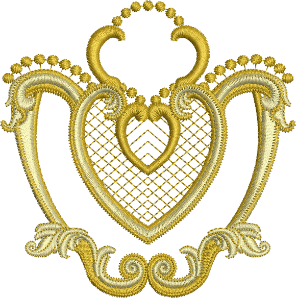 Gold Heart Embroidery Motif - 05 - Golden Classic - by Sue Box