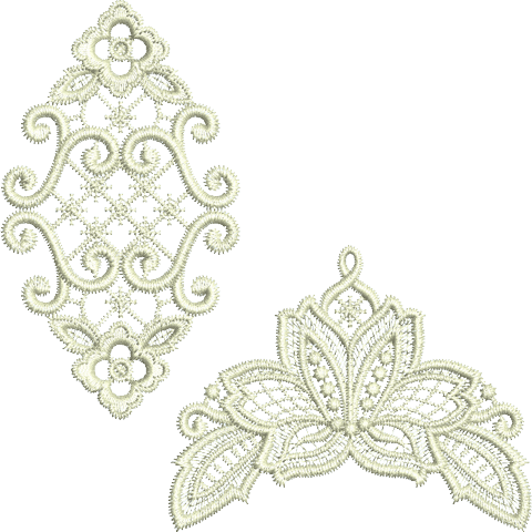 Lace - Insert and Lacy Flower Embroidery Motif by Sue Box
