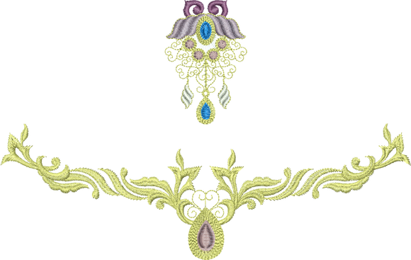 Jewel Flower 1 and Jewel Motif D - Embroidery Design - 05 - Metallic Thread designs by Sue Box
